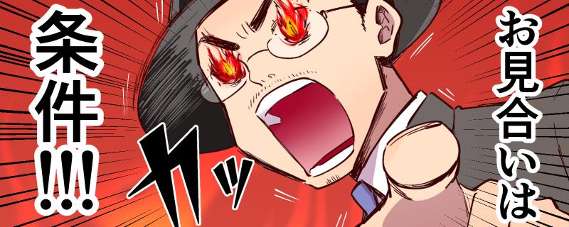 腐女子婚活4コマ漫画「お見合いは条件から始まるんだよ!」東京・大阪・名古屋 腐女子・オタクの婚活